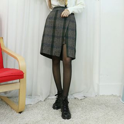 Dodostyle - Wool Blend Elastic-Waist Check Wrap Skirt