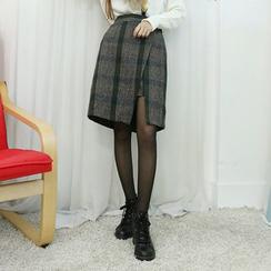 Dodostyle - Wool Blend Elastic-Waist Check Wrap Skirt