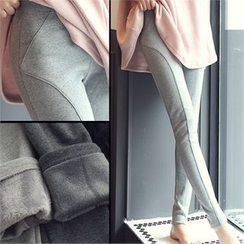 Romantic Factory - Brushed Fleece-Lined Seam-Detail Leggings