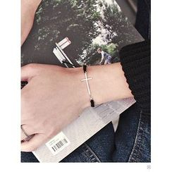 PINKROCKET - Cross-Pendant Woven Bracelet