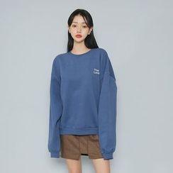 Envy Look - Lettering Brushed-Fleece Lined Sweatshirt