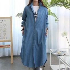 CHICFOX - Long-Sleeve Denim Shirtdress