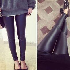 Bloombloom - Faux Leather Leggings