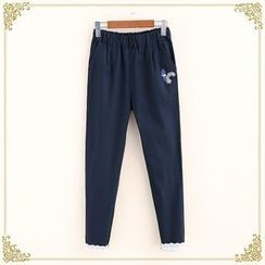 Fairyland - Squirrel Embroidered Straight-Leg Pants
