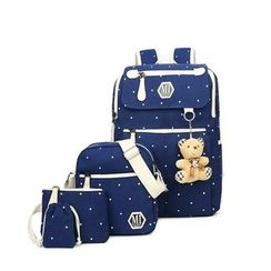 Golden Kelly - Set of 5: Dotted Backpack + Shoulder Bag + Zip Pouch + Drawstring Pouch