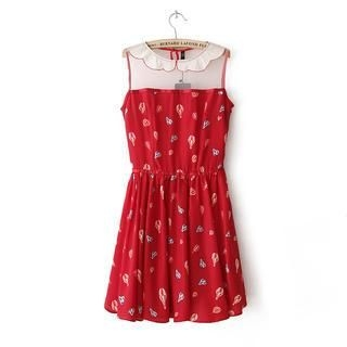 Flower Idea - Sleeveless Mesh-Panel Printed A-Line Dress