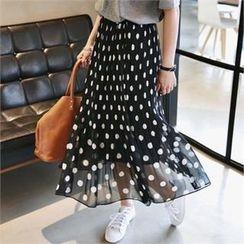 The Closet - Band-Waist Dotted Midi Skirt