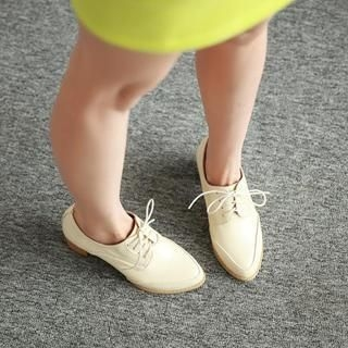 77Queen - Lace-Up Chunky-Heel Oxfords