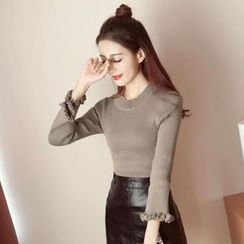 Bloombloom - Frill Trim Long-Sleeve Knit Top