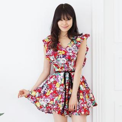 Celli Girl - Sleeveless Floral-Print Minidress with Sash