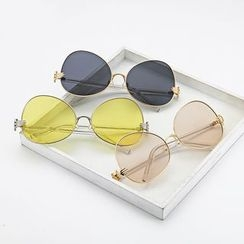 Sunny Eyewear - Faux-Pearl Nose Pad Round Sunglasses