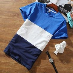Chic Maison - Short-Sleeve Color-Block T-Shirt