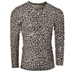 Fireon - Leopard Print Long Sleeve V-Neck T-Shirt