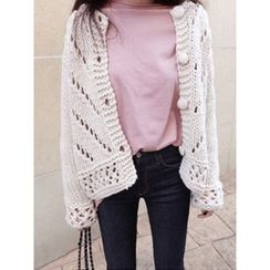 maybe-baby - Round-Neck Perforated Cardigan