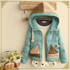 Fairyland - Knit Panel Padded Hooded Jacket