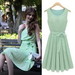 Saranghae - Pleated Sleeveless Chiffon Dress