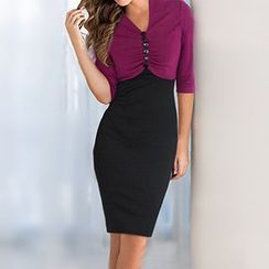 Forest Of Darama - 3/4-Sleeve Button Sheath Dress