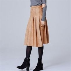 MAGJAY - Faux-Suede Pleated Midi Skirt