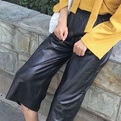 Cloud Nine - Faux Leather Capri Wide Leg Pants