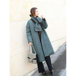 STYLEBYYAM - Wool Blend Stitched Coat with Scarf