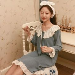 Frontline - Frill Trim Long Sleeve Pajama Dress