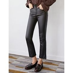 FROMBEGINNING - Coated Boot-Cut Pants