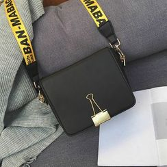 LINGLAN - Lettering Strap Shoulder Bag