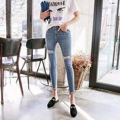 DABAGIRL - Distressed Washed Skinny Jeans