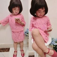 Happy Lala - Kids Set: Elbow-Sleeve Lace Top + Lace Skirt
