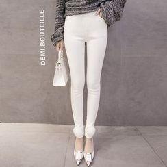 Romantica - Pompom-Accent Fleece-Lined Skinny Pants