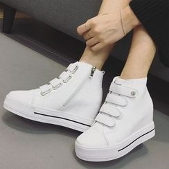 Zapatos - Faux-Leather Velcro Sneakers