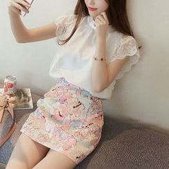 Phantasy - Set: Sleeveless Lace Trim Chiffon Top + Floral Skirt