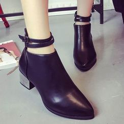 QQ Trend - Block Heel Pointy Ankle Boots