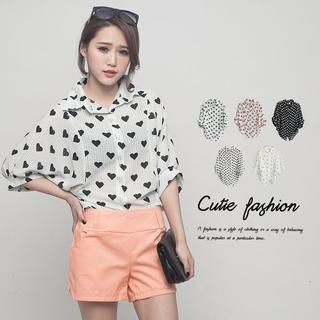 CUTIE FASHION - Batwing-Sleeve Patterned Shirt