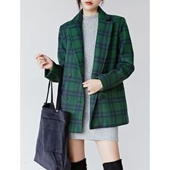 FROMBEGINNING - Double-Breasted Wool Blend Plaid Blazer