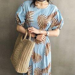 NANING9 - Short-Sleeve Printed Midi A-Line Dress