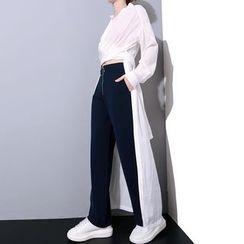 Ultra Modern - Plain Dip Back Chiffon Shirt