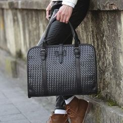 BagBuzz - Woven Faux Leather Briefcase