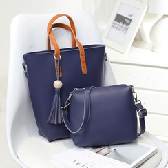 Bagalow - Faux-Leather Tasseled Satchel With Pouch