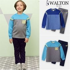 WALTON kids - Boys Set: Color-Block Sweatshirt + Sweatpants