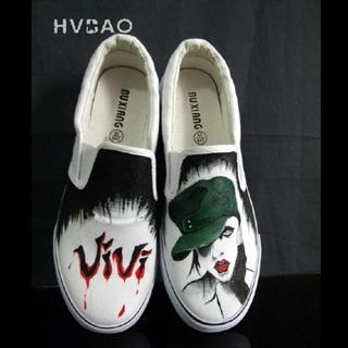 HVBAO - 'Gothic Vivi' Canvas Slip-Ons