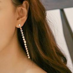 Ticoo - Rhinestone Drop Earrings
