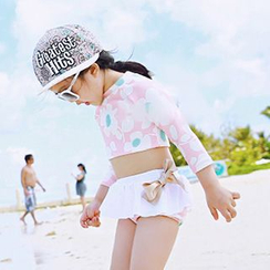 Moonrise Swimwear - Kids Set: Floral Print Rashguard + Swim Skirt