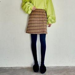 Seoul Fashion - Button-Front Plaid Mini A-Line Skirt