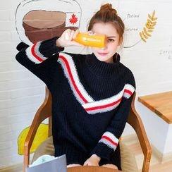 Kofushi - Striped Mock Neck Knit Tunic
