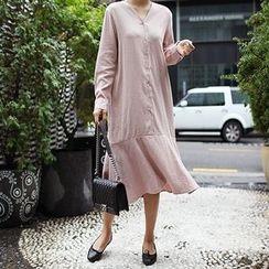 STYLEBYYAM - V-Neck Buttoned-Front Ruffle-Hem Dress