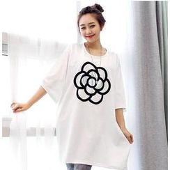 Love Seoul - Loose-Fit Flower Print T-Shirt