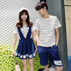 Proemio - Striped T-Shirt / Shorts / Jumper Skirt