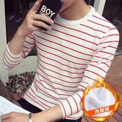 Alvicio - Striped Fleece Lined Long-Sleeve T-Shirt