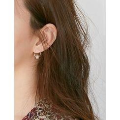 FROMBEGINNING - Cube Circle Stud Earrings